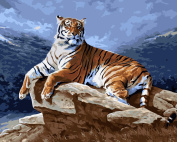 DIY Paint By Number Kits No Blending / No Mixing Linen Canvas Painting - Tiger King