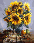 DIY Paint By Number Kits No Blending / No Mixing Linen Canvas Painting - Guangmang Sunflowers