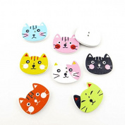 100x Arts Crafts Flatback Colourful Lovely Clothing Accessory Decoration Handmade Cute Multi Pattern Computer Painting Sewing Wood Buttons Supplies NK0102 Cat