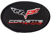 Corvette Racing Flags Oval Black Embroidered Iron on Hot Rods Patch