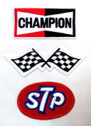 Set_MOTOR001 - STP Oil Patch, Auto Racing Patches Set - Motor Patches - Applique Embroidered patches - Iron on Patches - Backpack Patches - Size : Champion Patch ( 9.5 X 5 Cm.), Racing Flag Patch ( 12 X 5 Cm.), STP Oil Patches
