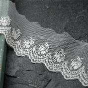 Vintage WHITE Embroidered Lace Trim, 6.4cm by 1 Yard, TR-10966