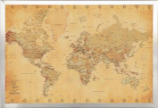 FRAMED Perfect For Push Pins World Map Vintage for Tracking Trips 24x36 Poster in Real Wood Brushed Nickel Finish Crafted in USA
