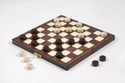 25cm Traditional Hand Crafted Wooden Draughts Checkers Set