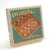 Wooden Travel Draughts board with storage compartment