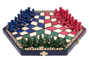 3 Three Players Chess Set - SMALL - 3 colour - RULES INCLUDED