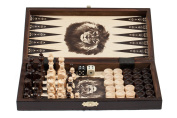 3 in 1 - Wooden Chess Backgammon Draughts SET - SMALL