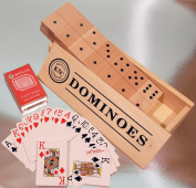Giant dominoes with two packs of large indices playing cards