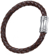 Red-Brown Leather with Stainless Steel Clasp Unisex Bracelet 20cm - G6006CZ520