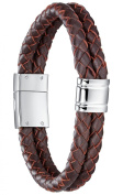 Double Row Red-Brown Leather with Stainless Steel Clasp Unisex Bracelet 22cm - G6016CZ522