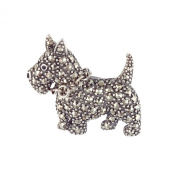 Esse Marcasite Sterling Silver Scottie Dog Brooch Set with Marcasite and Black Enamel
