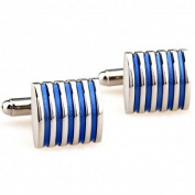 Yoursfs Silver And Blue Cufflinks For Father's Day Gift