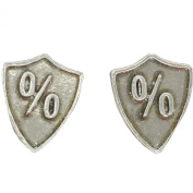 Fine Pewter Shield Cufflinks with Percentage Sign