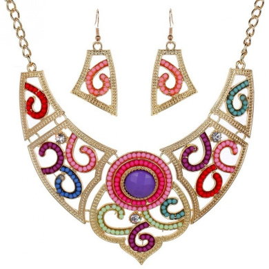 Fashion Colourful Hollow Gold Plated Necklace Earrings Jewellery Set