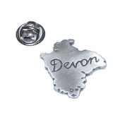 english pewter map of county of devon uk. Lapel Pin Badge / tie pin