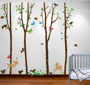 Innovative Stencils 1221 (96) Birch Tree Forest Set With Deer, Flying Birds, Bambi And Squirrels Baby Giant Wall Sticker Decal, 2.4m