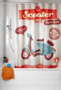 Wenko 21586100 Vintage Scooter Mould Resistant Shower Curtains - 9 x 2.8 cm x 37.5 cm