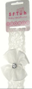 Elasticated Baby Headband in Lace with Satin Bow Trimmed with a Heart Shaped Diamante Button