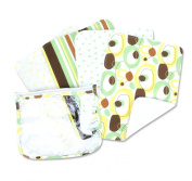 Trend Lab Burps in Clear Zip Pouch, Giggles Print, Set of 4