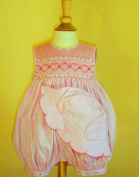 """Pretty in Pink Hand Smocked """"Hearts & Ribbons"""" Bubble and Hat Set- Sizes 3m-6m-9m-12m-18m-24m"""