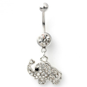 14G Stainless Steel Clear Crystal Elephant Dangle Navel Belly Button Ring Bar