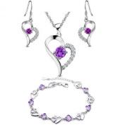 . element sterling Silver Amethyst Heart Shape Set Earring and Pendant Necklace + bracelet .for women girls