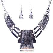 Women's Chunky Bold Square Bib Statement Chain Link Collar Necklace Earrings Set