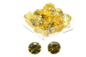 Birth Stone Jewels 10mm Yellow Sapphire Round Brilliant Cut Cubic Zirconia Gem Stones Pack Of 2