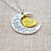 I LOVE YOU TO THE MOON & BACK HEART PENDANT NECKLACE