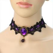 Graceful Black Lace Velvet Crystal Bead Pendant Choker Necklace Goth Punk - Purple