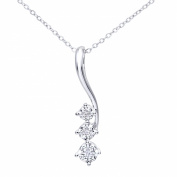 Ariel 9ct White Gold Pave Set Diamond Drop Pendant and Chain of 46cm