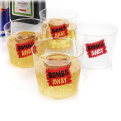 "Bombs Away Shot Glasses â€"" 4pc Set. Novelty bomb shot glasses, perfect for jager and red bull."