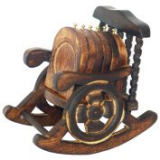Wooden Antique Hand Crafted Coasters Decorated in Rocking Chair Stand Set of 6 Pcs
