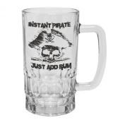 123t Mugs/Steins INSTANT PIRATE JUST ADD RUM 470ml Clear Glass Beer Mug/Stein