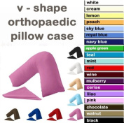 V Shaped Back support pillow with Free Blue Colour Pillow Case
