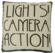 "LIGHTS CAMERA ACTION FILM REEL MOVIE BLACK COTTON BLEND CUSHION COVER 18"" - 45CM"