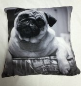 "RAYYAN LINEN'S BLACK GREY & WHITE PUG PRINTED CUSHION COVER OR PILLOWCASES 18 X 18"" OR 45 X 45 CM APPROX."