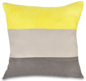 Yellow, Grey & Pewter Faux Suede 46cm Cushion Cover