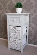 Whitehaven Wooden 3 Basket Drawer Unit Chest in White Stone Painted Finish, Farmhouse Style