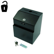 Lockable Metal Ballot / Suggestion Box - Black with Literature Pocket