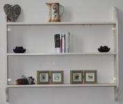Shabby chic shelving three tier bookcase 110cm cream