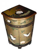 Oriental Chinese Furniture - Gold Leaf Corner Cabinet with Cranes Design