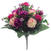 41cm Large Artificial Spikey Mum Hot Pink / Wine flower bush Home Grave Wedding