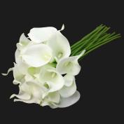 E-lant 10 head Beautiful Artificial Calla Lily Bridal Wedding Bouquet Artificial Rose Bouquet