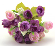 PURPLE MIX Colour Small Rosebuds Bouquet of Roses Artificial Flowers Home Wall Party Decor Wedding Decal