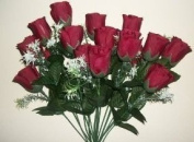 18 head BURGUNDY rose buds artificial flower bush weddings/graves