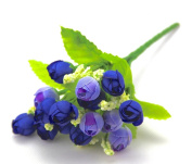 Blue Colour High Quality Small Rosebuds Bouquet of Roses Artificial Flowers Artificial Silk Flowers
