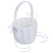 Satin Wedding Flower Girl Basket Double-Heart Rhinestone Decor---White