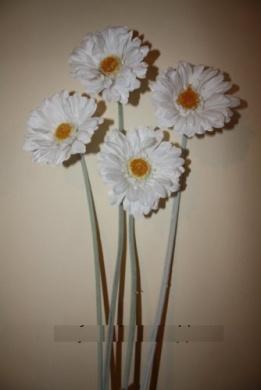 4 white artificial flower gerbera stems home wedding decor flower arrangements