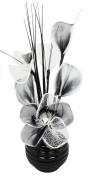Flourish 32 cm Vase with Mesh Mini Flower TW, 813 Black/ White